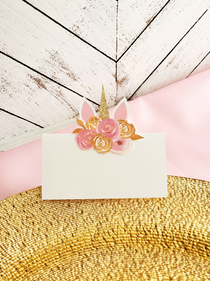 Pink and Gold Unicorn Place Cards - Blank
