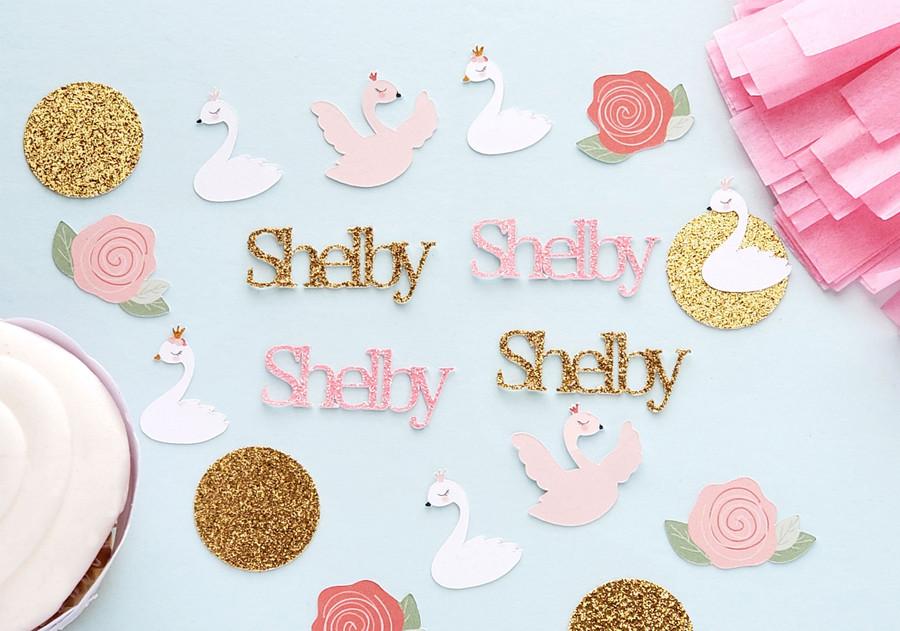 Personalized Swan Princess Confetti