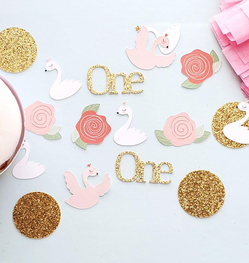 1st Birthday Swan Princess Confetti