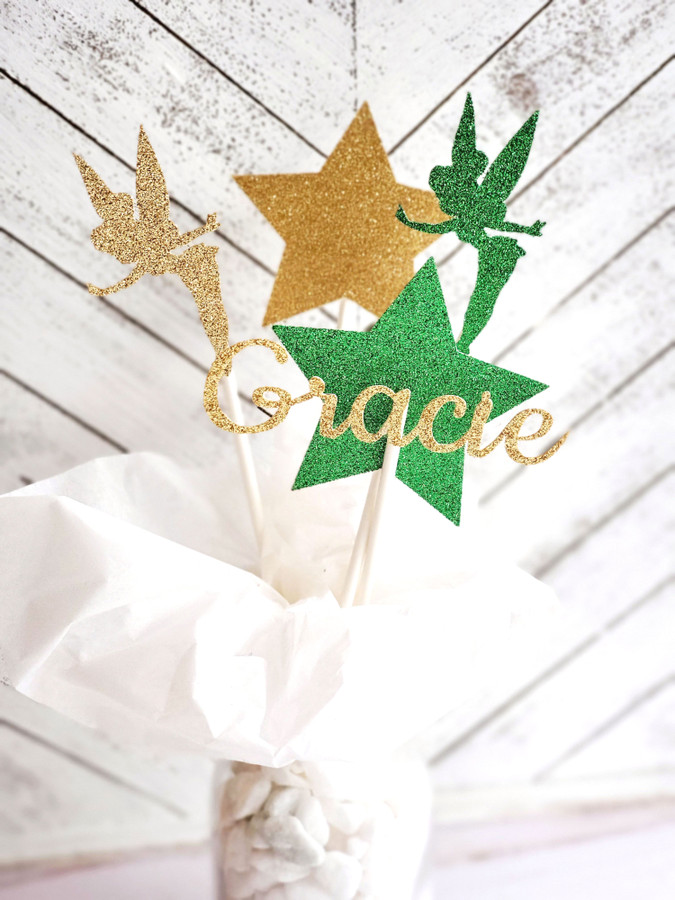 Personalized Tinkerbell Centerpiece Set in Green and Gold
