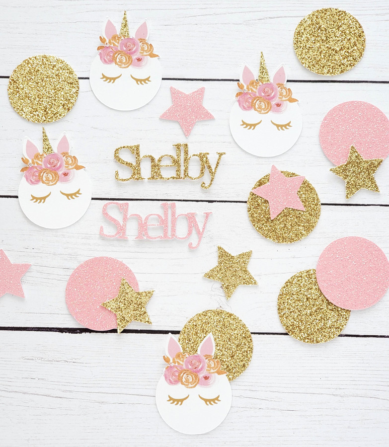 Personalized Pink and Gold Lashed Unicorn Confetti
