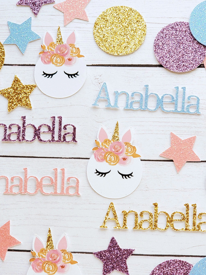 Personalized Pastel Unicorn Confetti