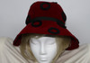 Vintage 1960s Hattie Carnegie Red Felt Hat with Black Ring Accents