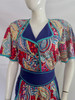 1980's Jeanne Marc Multi Colored Patterned Jumpsuit with Belt