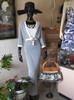 SOLD 2pc. Navy & White Knit Dress & Cardigan