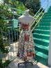 1950's Halter Dress Floral w/ Rhinestones