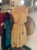 SOLD 60's Pink & Yellow Floral Dress w/ Matching Sheer Overlay