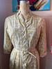 SOLD Calligraphy Gold Print Dress w/ Belt