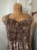 """""""Young Hawaii"""" Brown w/ White Floral Pattern Halter Dress"""