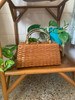 Brown Wicker w/ Bamboo Accent Handle Bag