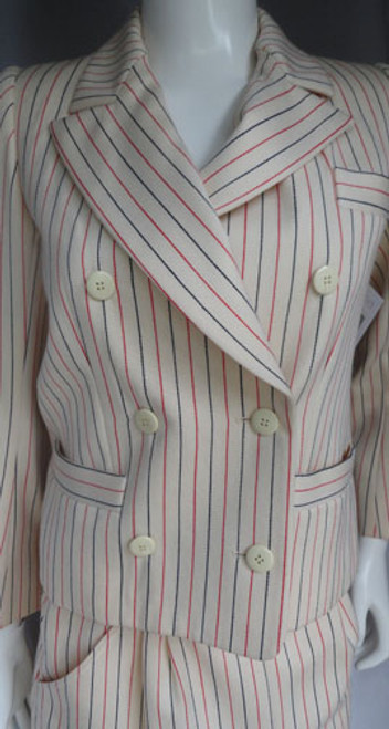 1980s Yves Saint Laurent Rive Gauche Cream, Red and Blue Pinstriped Skirt Suit