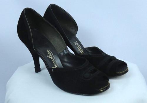 """Vintage 1940s """"Tweedies-Alluring Footwear"""" Black Suede Peep Toe Heels"""