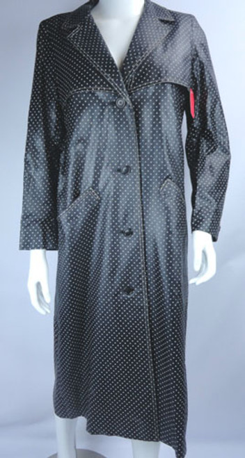 Vintage 1970s Diane von Furstenburg DVF Black and White Polka Dot Raincoat