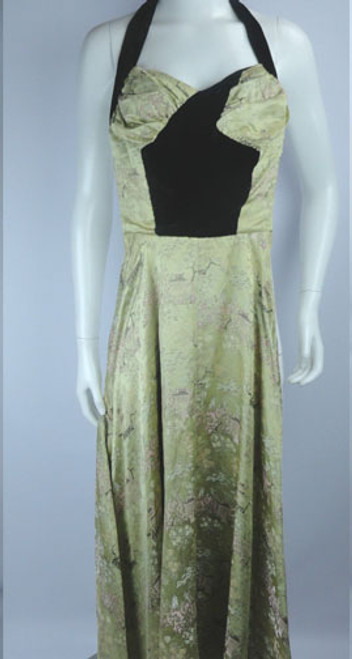 Vintage 1940s Oriental Print Champagne Silk and Velvet Gown