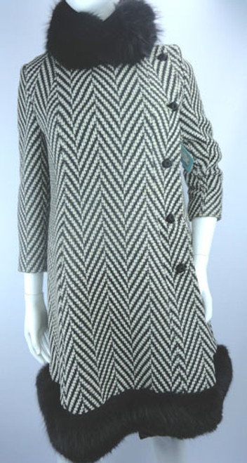 Vintage 1960s Black and White Chevron Coat with Mink Trim