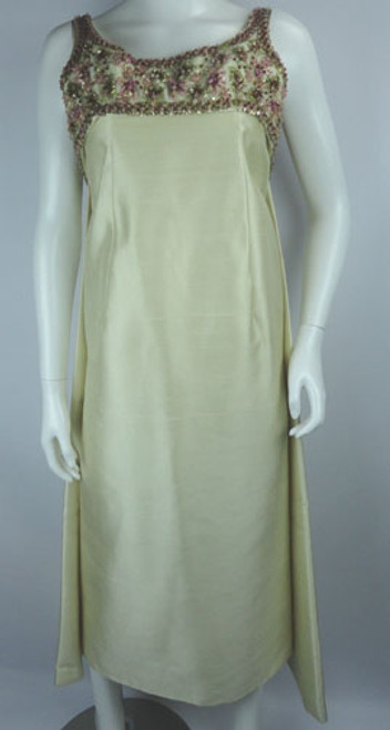 Vintage 1960s Pat Sandler Champagne Raw Silk Beaded Gown