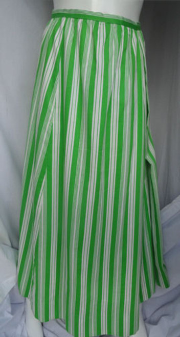 """Late 1960s Geoffrey Beene """"Beene Bazaar"""" Lime Green and White Striped Maxi Skirt"""