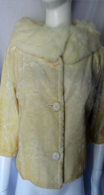 1950s Champagne Jordan Marsh Florida Velvet and Fur Jacket