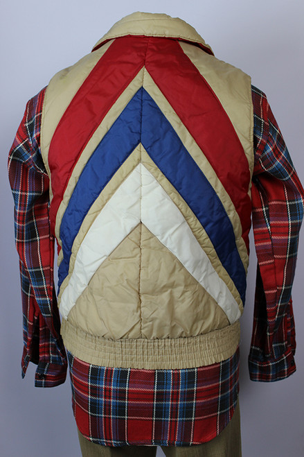 Vintage 1980s Chevron Back Quilted Men's Vest