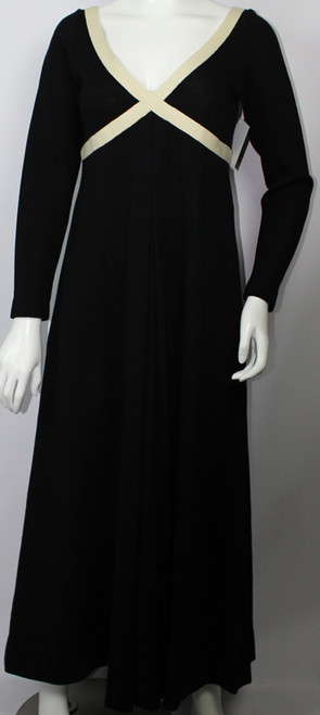 Vintage 1960s Rudi Gernreich Long Sleeve Black and White Maxi Dress