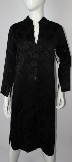 Vintage 1970s Yves Saint Laurent Chinese Collection Black Silk Dress