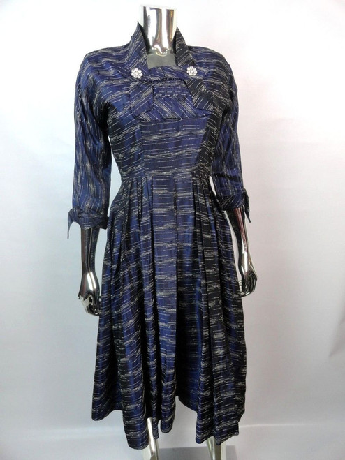 Late 40's Navy Silk Taffetta Dress w/ White Stripe Detail SOLD!