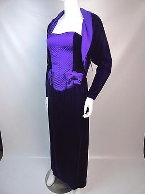 "Vintage 80's ""Guy Laroche"" Purple Velvet and Satin Evening"