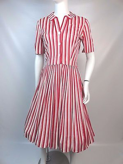 Vintage 1950's Red and White Striped Shirt Waist Dress SOLD