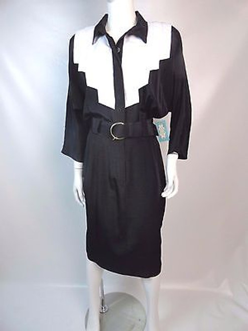 "Vintage 80's ""Caroline Wells"" Black and White Dress"
