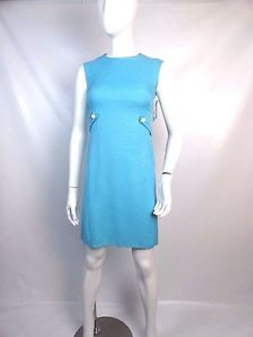 "Vintage 60's ""Leslie Fay"" Sky Blue Belted Shift Dress"