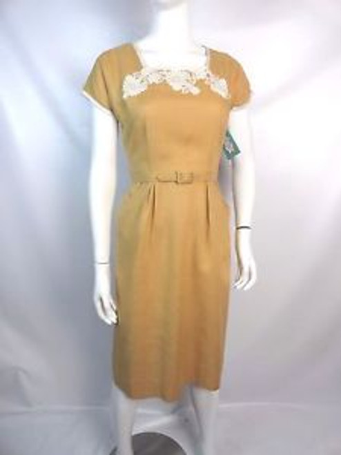 Vintage 50's Beige Linen Dress w/ Embroidered Neckline SOLD