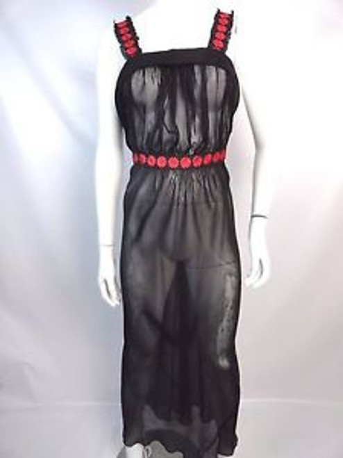 Vintage 30's Black Silk Chiffon Night Gown w/ Red Embroidery