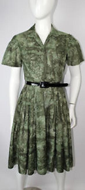 Vintage 1950s Herman Green Shirt Waist Dress SOLD