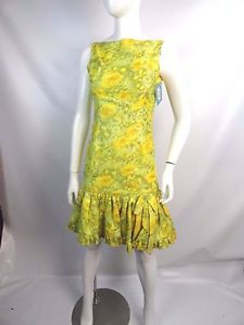"Vintage 60's ""Mam'Selle by Betty Carol"" Yellow/Green Floral Dress"
