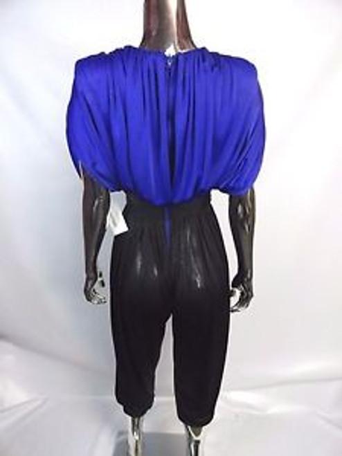 "987f9f4591e ... Vintage 80 s ""Susan Roselli for Vijack"" Blue and Black Jumpsuit ..."