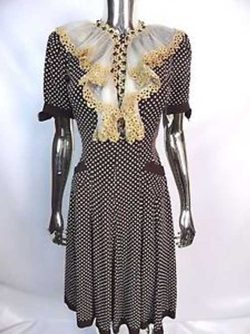 Vintage 30's Brown and White Polka Dot Ruffle Neck Dress SOLD