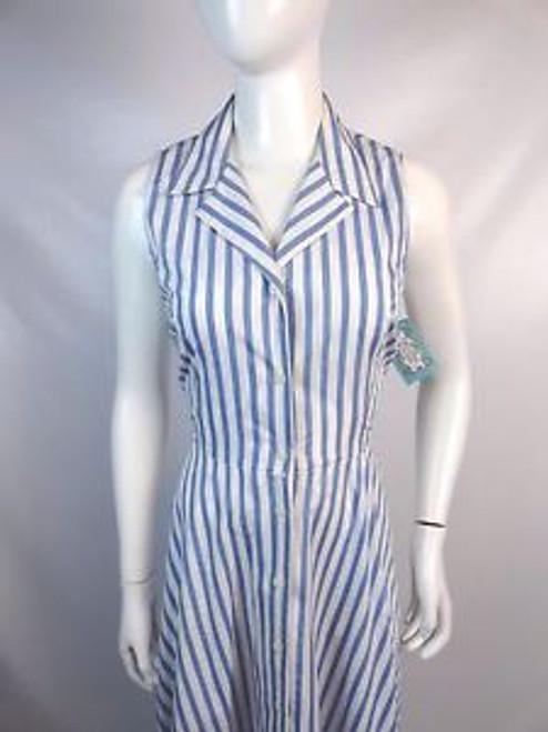 "Vintage 80's ""Lizsport"" Blue and White Striped Shirtwaist Dress SOLD"