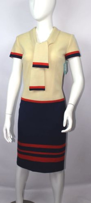 "Vintage 60s ""Mr. Blackwell"" Tie Collar Dress"