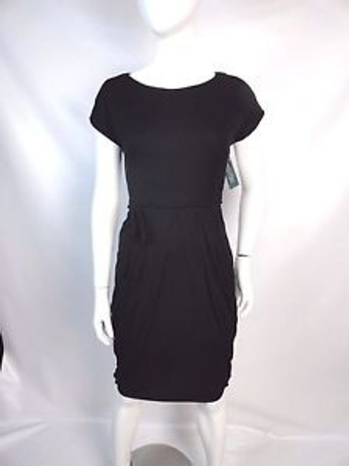 Vintage 50's Black Pleated and Bustled Dress
