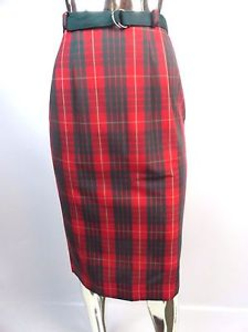 Vintage 60'S Red/Green Plaid Pencil Skirt