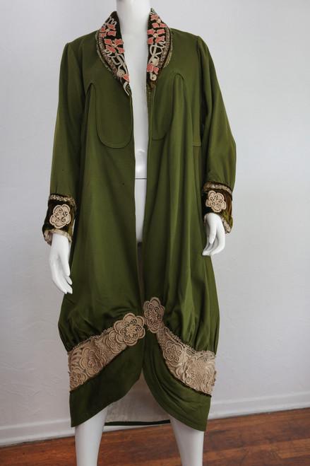 1900s Olive Green Jacket W/ Silk Lining & Velvet/Lace Detail