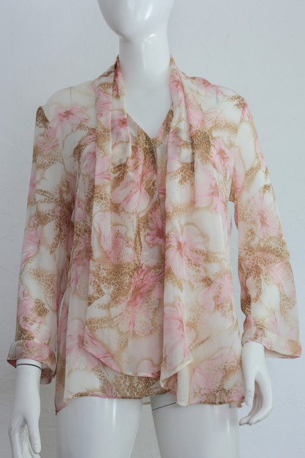 "ON SALE 90's ""Escada"" Sheer Floral Cheetah Print Blouse"