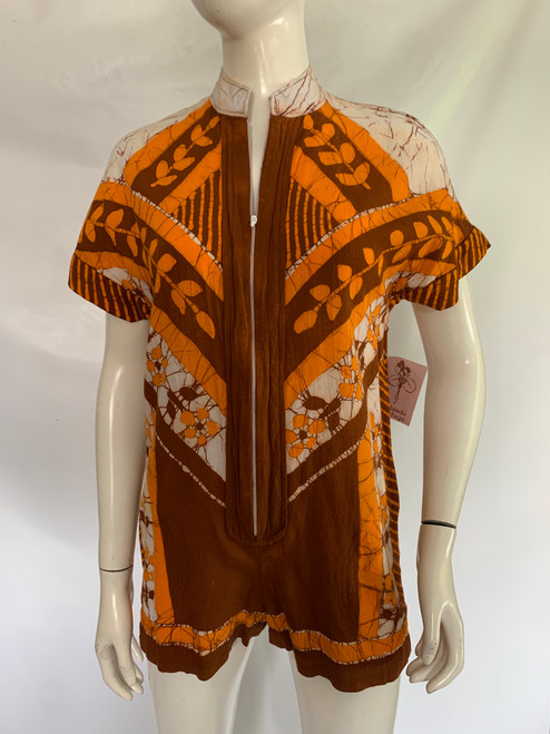 SOLD Batik Orange Romper