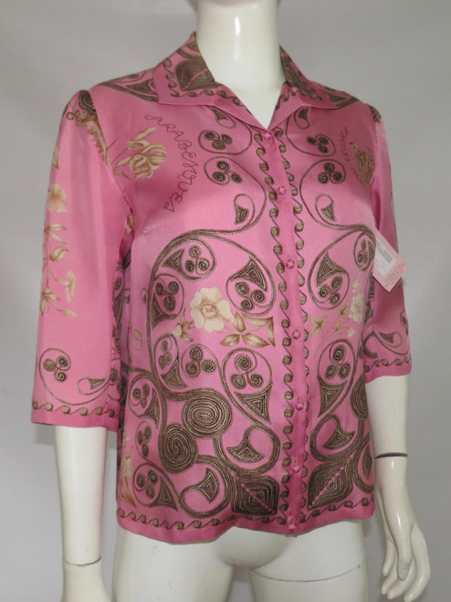 """SOLD """"Hermes"""" Pink Graphic Print Blouse"""
