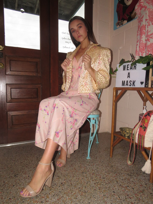1940's Peach w/ Floral Rayon Knight Gown