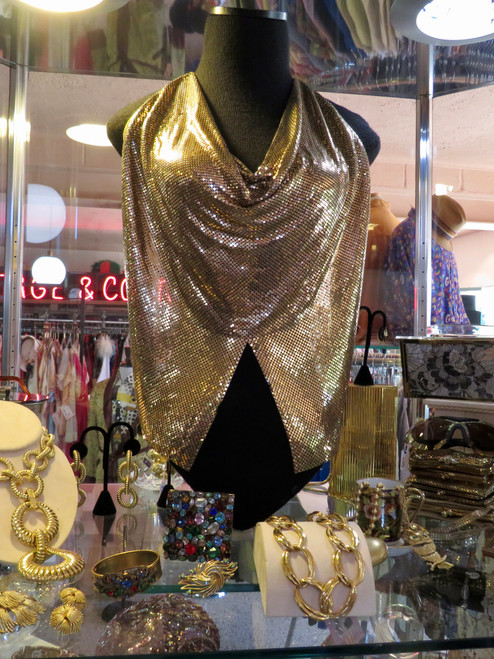 SOLD Whiting and Davis Gold Metal Halter Top