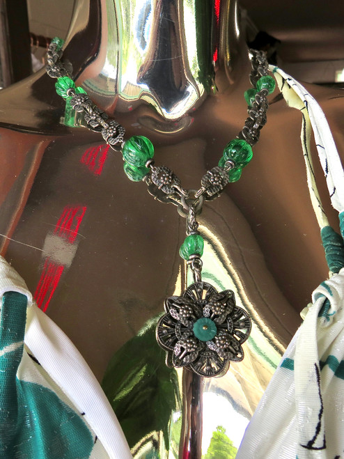 Silver w/ Green Stones Necklace