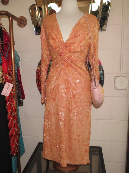 Iridescent Peach Sequin Cocktail Dress