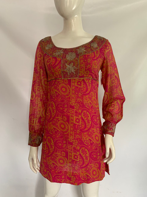 1970's Pink Paisley Dress w/ Gold Detail