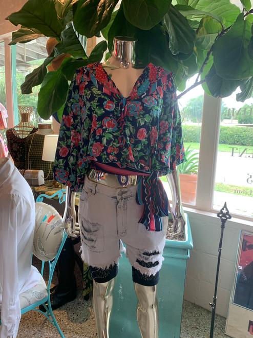 Diane Frez Floral Print Waist Tie Top
